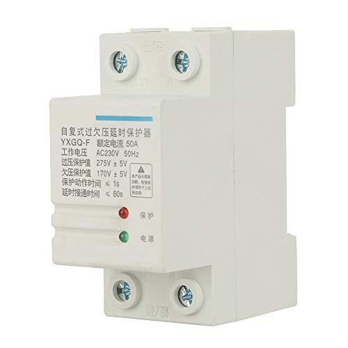 Relé de protección de voltaje, 2P 50A YXGQ-F Recuperación automática Sobrevoltaje Bajo voltaje Protector de corriente Equipo eléctrico de protección...