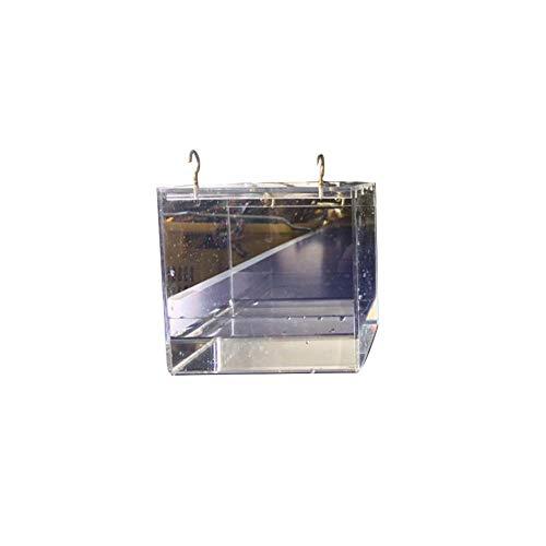 Freedomanoth Hangend vogelbad met haak transparante huisdier vogel badhuis dobbelsteen vogelbad badkuip badkuip met metalen universele clip voor de meeste vogelkooien, S