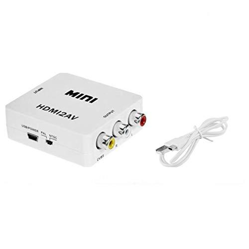 fawox Adaptador convertidor de Video HDMI a Mini Compuesto CVBS RCA AV TV Antigua 1080p HRCA Blanco