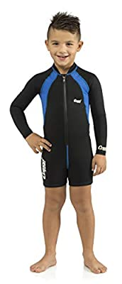 Cressi Kids Long Sleeve Swimsuit, Black/Blue, XL