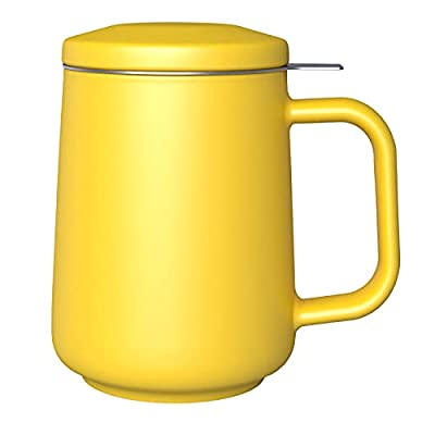 DHPO Ceramic Tea Mug with Infuser and Lid, 18oz Loose Leaf Tea Cup Large Handle Teaware Mug, Microwave Dishwasher Safe, Gifts for Women and Men,Yellow