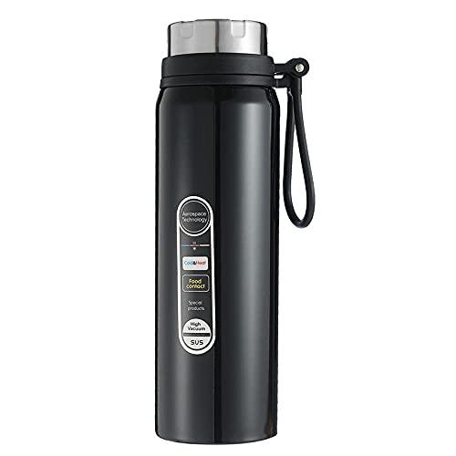 Botella de Agua Deportiva,Prueba de Fugas, Botella Agua Reutilizable para Excursionismo, Ciclismo, Running, Acampada, Gimnasio y Viajes -negro_750ml