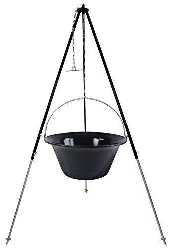 Grillplanet 30l Gulaschkessel mit Dreibein 1,8 m Kettenhöhenverstellung - 30 Liter Kesselgulasch Gulaschtopf Set