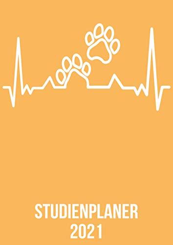 Studienplaner 2021: Wochenplaner zum notieren, organisieren und planen DIN A4. Kalender / Terminkalender / Monats- / Tagesübersicht / Kontakt- / ... / Tierpfote Hund Katze heartbeat herzschlag