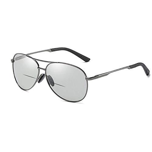 EYEphd Gafas de Lectura al Aire Libre de Zoom automático Inteligente, Gafas de Sol de la Lente multifocal progresiva HD/Anti-deslumbramiento / UV400 Ampliación+1.0 a +3.0,Gris,+1.75
