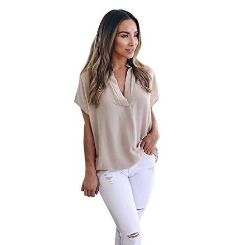Chemise Femmes Dames été T-Shirt Mousseline De Soie à Manches Courtes Chic Lâche Solide Tops Blouse Casual Haut LONUPAZZ