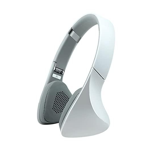 QIFFIY Auriculares Bluetooth sobre la oreja, plegables, con cable e inalámbricos profesionales con auriculares de viaje en casa y oficina (color blanco)
