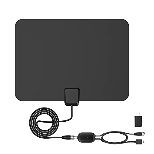 High Definition Digital TV Antenna 60 Miles Reception Range, Support 4K 1080p for TVs, Indoor Amplifier Signal Booster, 16.4ft Coax HDTV Cable/Adapter