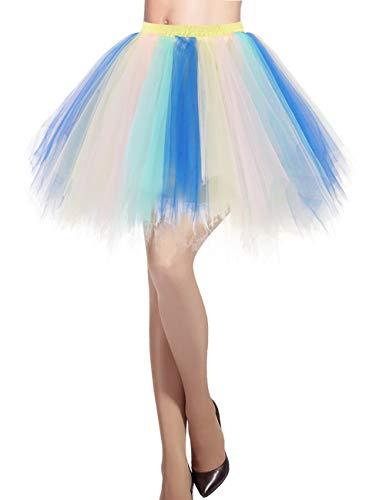 DRESSTELLS Damen Tüllrock 50er Rockabilly Petticoat Tutu Unterrock Kurz Ballett Tanzkleid Ballkleid Abendkleid Gelegenheit Zubehör Blue-Champagne L