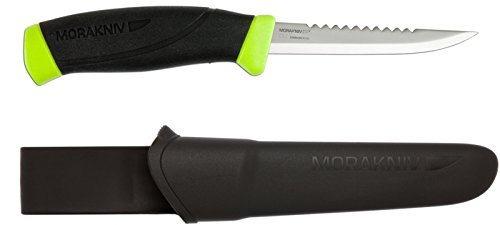Morakniv Fishing Comfort Scaler Knife with Serrated Stainless Steel Blade, 3.9-Inch