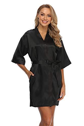 Women's Bridesmaid Kimono Robe Solid Color Short Silk Bathrobe with Satin Belt for Wedding Party Black 2XL
