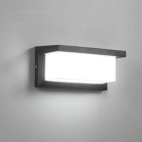 Aplique de Pared LED de 12W, Aplique de Pared LED Exterior IP65, Luces de mamparo de Metal cuadradas Impermeables, lámpara de Pared Exterior Blanca fría para lámpara