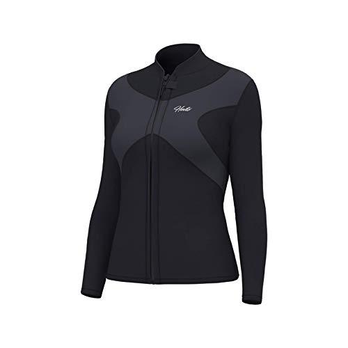 Hevto Wetsuits Tops X Women 3mm Neoprene Jacket Long Sleeve Surfing Swimming Front Zip Keep Warm (X-Women Gray, L)