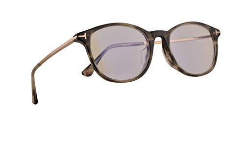 Tom Ford TF5553-F-B 54-19-145 - Gafas de sol con rayas brillantes, color negro y gris con lentes transparentes demo 056 TF 5553FB FT 5553-F-B FT5553-F-B