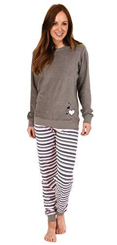 Eleganter Damen Frottee Pyjama Schlafanzug mit Bündchen und Herz Motiv - 291 201 13 570, Farbe:grau, Größe2:40/42