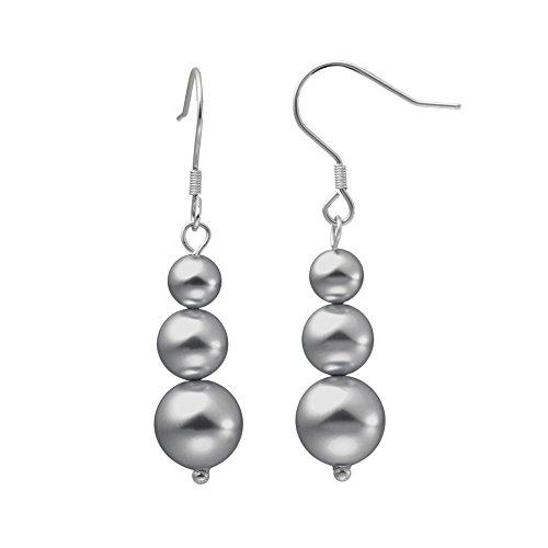Heideman pendientes mujer de acero inoxidable color plata 925 pulida Pendientes largos con Swarovski perla gris oscuro