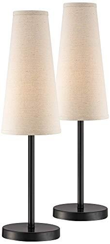Snippet Modern Contemporary Accent Table Lamps Set of 2 Espresso Bronze Slim Off White Linen Cone Shade for Living Room Bedroom House Bedside Nightstand Home Office Family - 360 Lighting