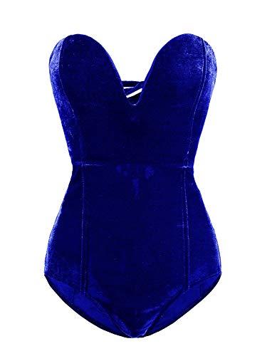 Women Strapless V Neck Velvet Bodysuit Clubwear Party Royal Bule Large