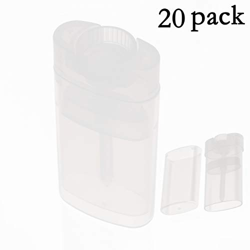 Black Menba Empty Oval Deodorant Lip Lipstick Balm Tubes Containers Plastic 20PCS 15ML Transparent (15ml, Transparent)