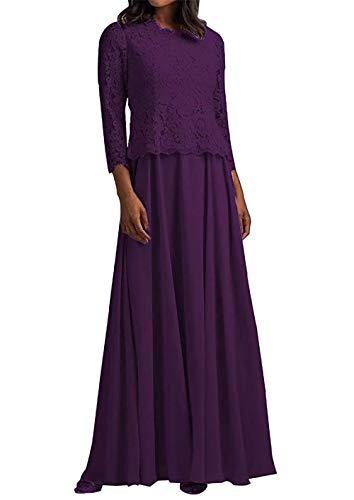 HUINI Abendkleid Lang Elegant Hochzeitskleid Damen Spitzen Brautmutterkleider Langarm mit Jacke Chiffon Traube 58