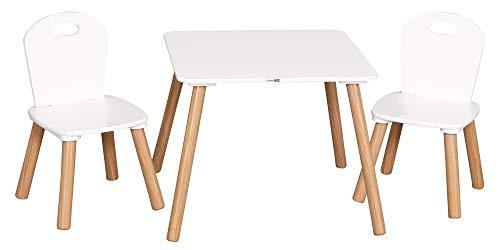 Weißer Kindertisch aus Holz und 2 Stühle Set   ab 2+ Jahren   Kleinkind Kinder   Aktivitätstabelle   Kindergarten Heimspielzimmer, Farbe:weiß