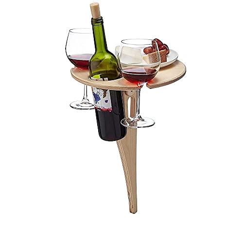 HQL Tavolo da Vino pieghevole per esterni - Tavolo da Picnic portatile, portabicchieri da Vino, tavolo pieghevole, per esterno, campeggio, giardino, viaggi, spiaggia, Prato