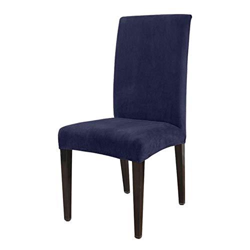 LucaSng 1/2/4/6 piezas funda de silla de felpa gruesa extraíble para bodas, restaurantes, banquetes de hotel, azul marino, 6 unidades