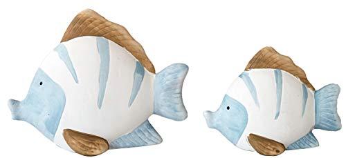 khevga Maritime Deko Bad Badezimmer-Deko Fische Terracotta Blau Weiß 2er Set