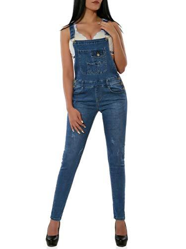 Damen Latzhose Jeanshose Denim Overall Jumpsuit DA 16039 Farbe Blau Größe S / 36