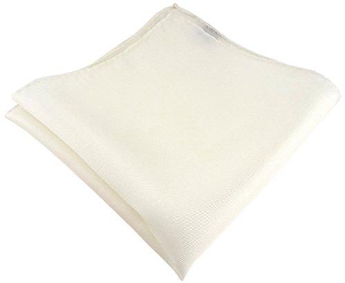 TigerTie Einstecktuch handrolliert creme einfarbig Uni - 100% Seide - Gr. 30 x 30 cm