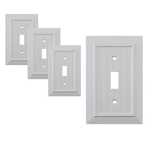 Pack of 4 Wall Plate Outlet Switch Covers by SleekLighting   Classic Beadboard Wall plates  Variety of Styles: Decorator/Duplex/Toggle/Blank/& Combo   Size: 1 Gang Toggle