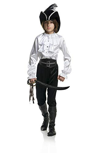 Charades Little Boy's Pirate Captain Shirt Childrens Costume, White, Medium