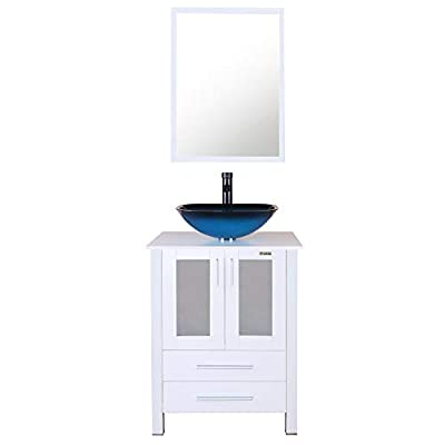 """eclife 24"""" Bathroom Vanity Sink Combo White Small Vanity Ocean Blue Square Tempered Glass Vessel Sink & 1.5 GPM Water Save Faucet & Solid Brass Pop Up Drain,with Mirror (A04B02W)"""