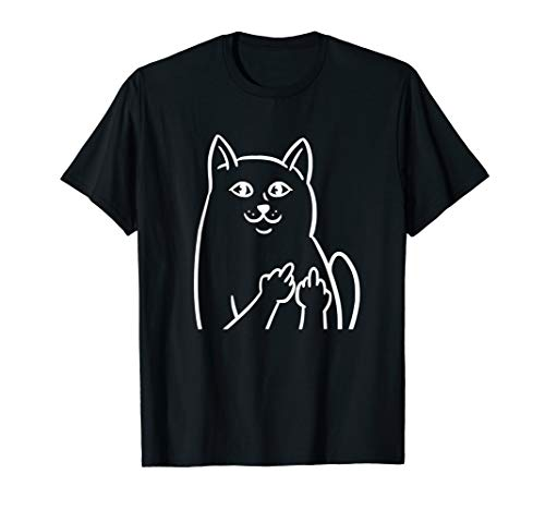 Freche Katze Cat Mittelfinger Design für Katzenliebhaber T-Shirt
