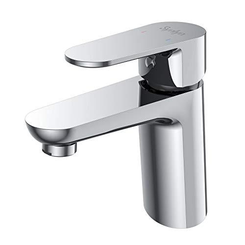 Synlyn Wasserhahn Bad Armatur Waschbecken Armaturen Chrom Badarmatur Messing Mischbatterie Moderner Waschtischarmatur für Badezimmer, Inkliniert Hochdruckarmatur Einhebelmischer