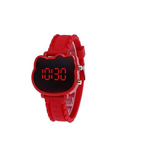 Gato de la historieta niños Relojes Cat niños de luz LED electrónica digital silicón de los niños del niño de los relojes impermeables de los relojes rojo (batería incluida) joyería de moda exquisita