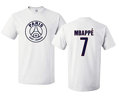 Spark Apparel New Paris Soccer Shirt #7 MBAPPE Boys Girls Youth T-Shirt (White, Youth X-Large)