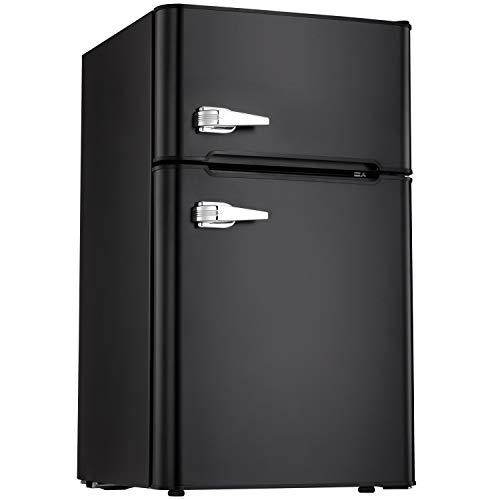 Tavata 3.2 Cu Compact Refrigerator Double Door Mini Fridge with Top Door Freezer,Small Drink Chiller for Home, Office,Dorm or RV (Black)