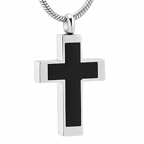 Collar de urna de acero y negro Collar de cruz fresca Ataúd funerario Colgante de cremación conmemorativo para hombres