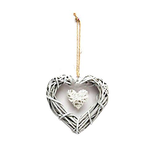 KaariFirefly Double Heart Wedding Resin Wicker Wall Hanging Decoration Ornament Party Gift