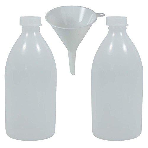 mikken Laborflasche, Kunststoff, Transparent, 2 x 500ml, 10-Einheiten