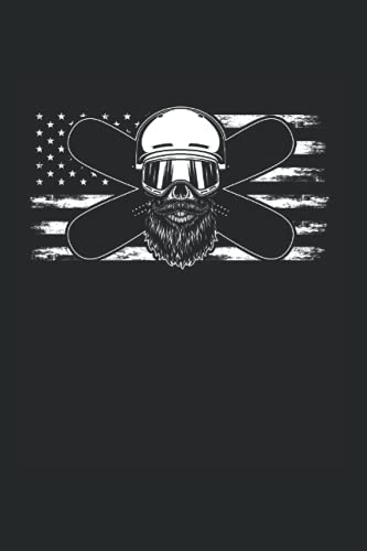Notebook: American Snowboarding Skull US Bearded Snowboarder Notebook 6x9 Inches 120 dotted pages for notes, drawings, formulas | Organizer writing book planner diary