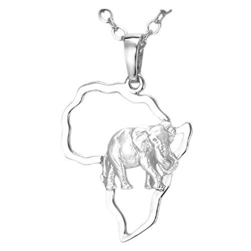 IzuBizu - Collar para mujer y hombre chapado en plata blanco elefante colgante africano mapa,50cm