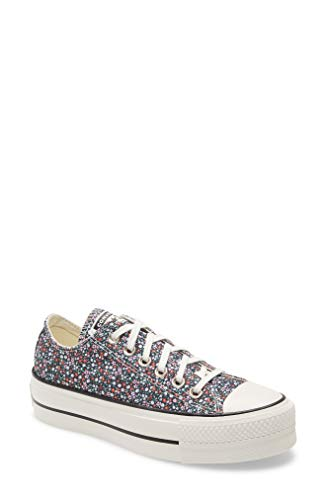 Converse Womens Chuck Taylor All Star Lift Platform Low Top Sneakers, Black/Multi Flowers/White, 6 US