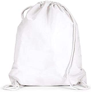 Durable Polyester Drawstring Tote Bags - White