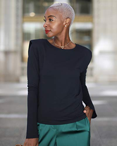 The Drop Women's Black Shoulder-Pad Long Sleeve Top by @signedblake