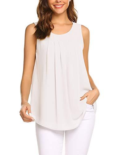 Parabler Damen Sommer Chiffon Top Ärmellose Blusentop Tank Top Elegant Weste Top Shirt Bluse Oberteile (Weiß, EU 38/M)