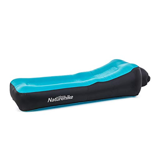 Naturehike Ergonomic Design Air Sofa Anti-Air Leaking Waterproof Inflatable Beach Lounger Double Layer Beach Camping Air Bed (Blue)