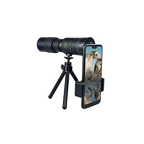 Ekupuz Monokular-Teleskop, 10–300 x 40 mm, Super-Teleobjektiv, Zoom-Teleskop, für Vogelbeobachtung/Wildtiere/Jagd/Camping/Wandern/Reisen/Rüstung/Live-Konzert, mit Stativ + Handy-Clip