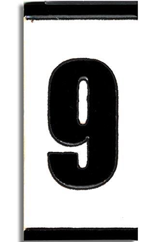 TORO DEL ORO Números casa exterior - Placa Puerta - Cerámica esmaltada - Pintados a Mano con la técnica de la cuerda seca - Nombres y direcciones - Modelo Polo 5,5 cms x 10,5 cms (Número Nueve